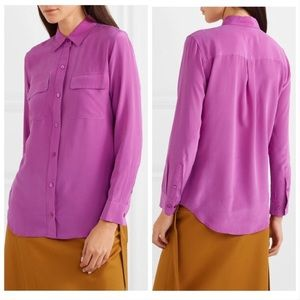 Equipment signature washed silk blouse purple S